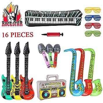 SUPERSUN 16PCS Guitarras inflables, Rock Star Props Decoraciones Globos, Accesorios de Disfraces Rockstar, Micrófonos inflables Saxofones Instrumentos ...