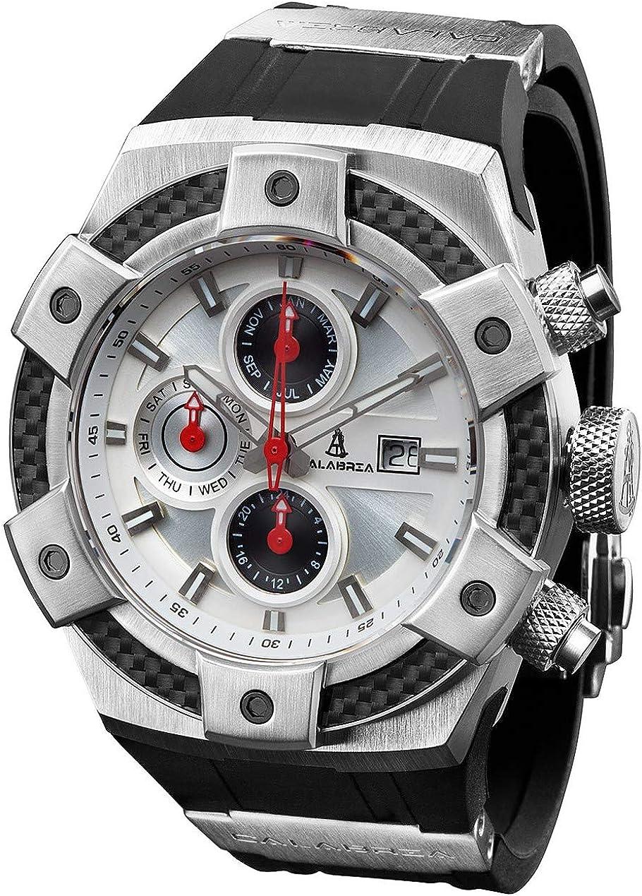 CALABRIA – ARMATO OPACO – White Dial Men s Watch with Carbon Fiber Bezel