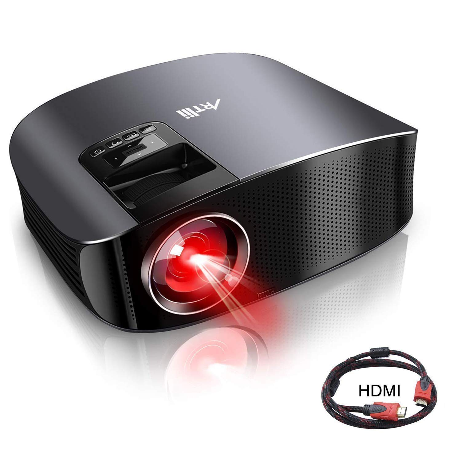 "Movie Projector - Artlii 4000 Lux Full HD 1080P Support Projector, LED Projector with HiFi Stereo, Home Theater Projector w/ 200"" Projection Size,2 HDMI USB VGA for Movies Sports Nintendo Switch PS4"