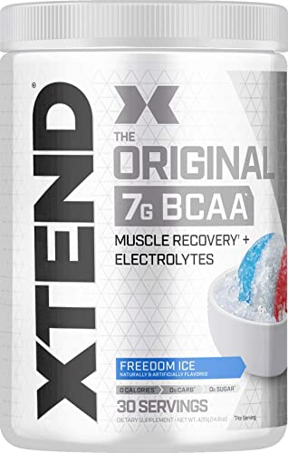 Scivation XTEND Original BCAA Powder Freedom Ice Sugar Free Post Workout Muscle Recovery Drink with Amino Acids 7g BCAAs for Men Women 30 Servings