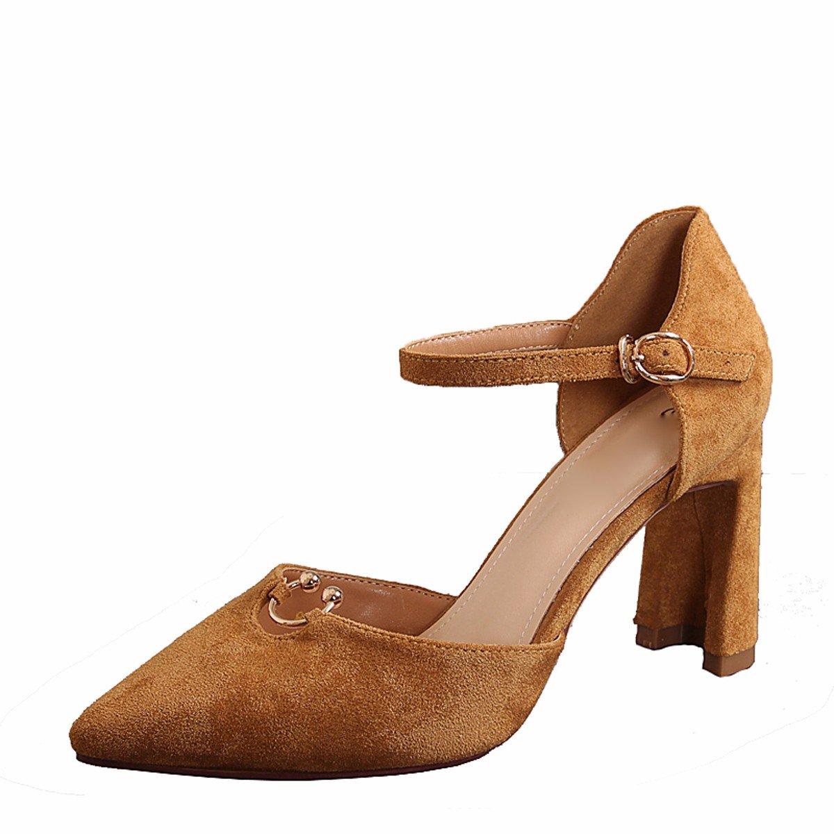 KPHY Damenschuhe Spikes 9Cm High Heels Frühling Sexy Dicke Frauen Frauen Frauen Schuhe Schnallen Einzelne Schuhe. 97823d