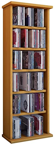 VCM Shelf Shelves Storage Unit Cabinet Bookshelf Bookcase CD DVD Furniture  Tower Wood Vostan Beech