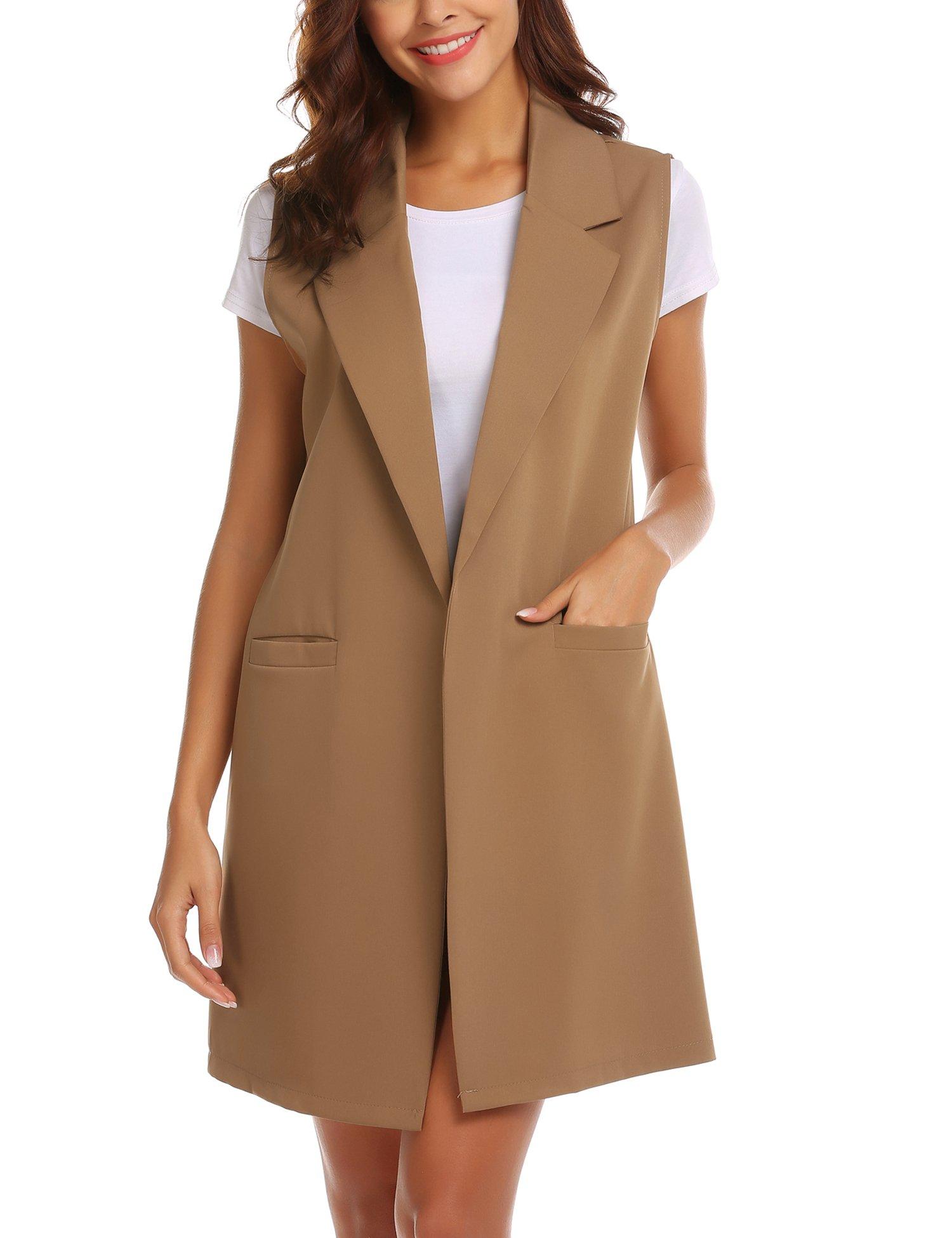 Showyoo Women's Long Sleeveless Duster Trench Vest Casual Lapel Blazer Jacket Khaki M