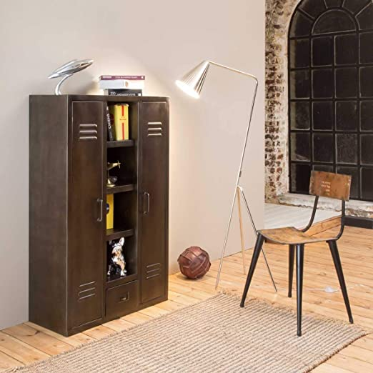 Made In Meubles Armoire Industrielle Vintage Noire Amazon Fr