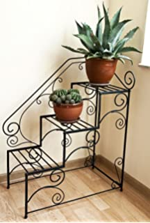 Blumentreppe Pflanzentreppe 3-stufig Holz 85x50x75cm Vintage Stil ... Blumentreppe Holz Metall Pflanzentreppe