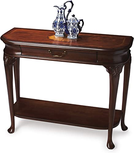 Sofa Console Tables – Hartwell House Inlaid Demilune Console Table – Marquetry Entryway Table – Plantation Cherry Finish