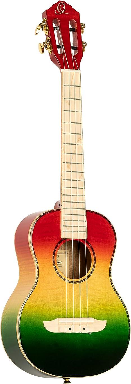 ORTEGA Prism Series Tenor Ukulele + Estuche DeLuxe - tapa de arce flameado, fondo y aros/diapasón y puente de arce/Tri-Color desgastado (RUPR-TRI): Amazon.es: Instrumentos musicales