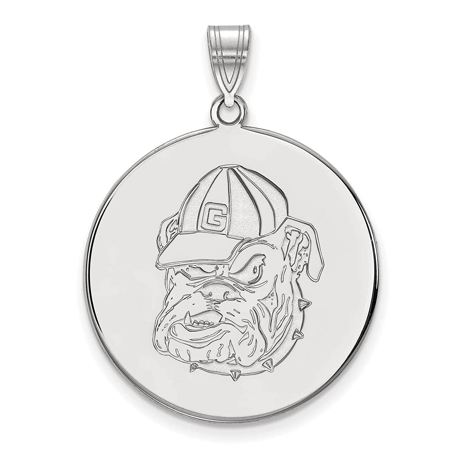 925 Sterling Silver Rhodium-plated Laser-cut University of Georgia XL Disc Pendant