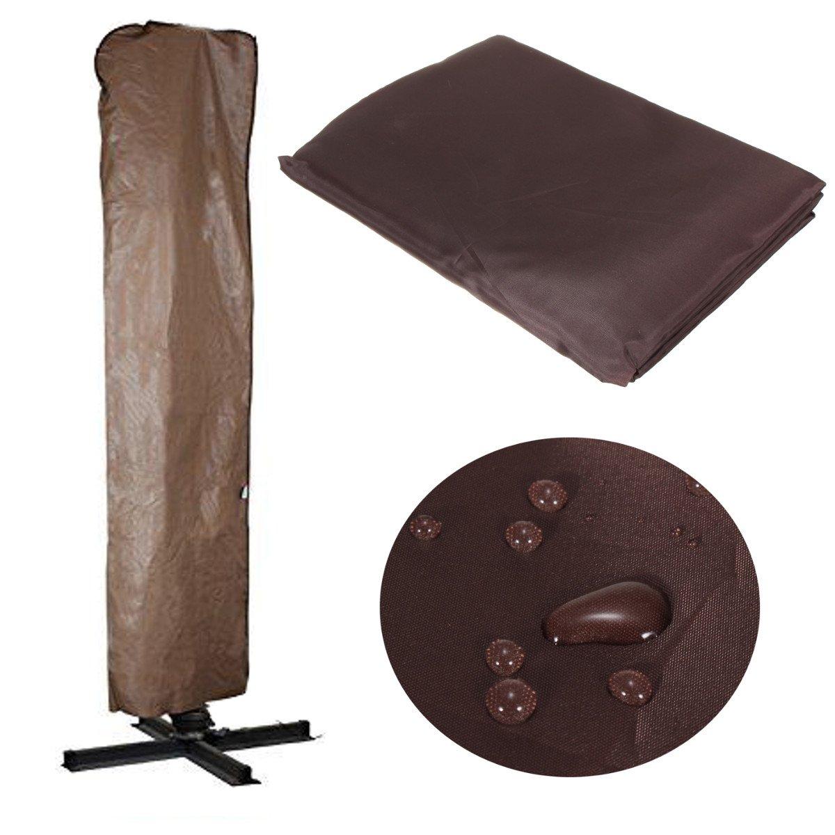 TANCHEN 260x70CM Brown Waterproof Garden Patio Parasol Umbrella Outdoor Canopy Protective Cover