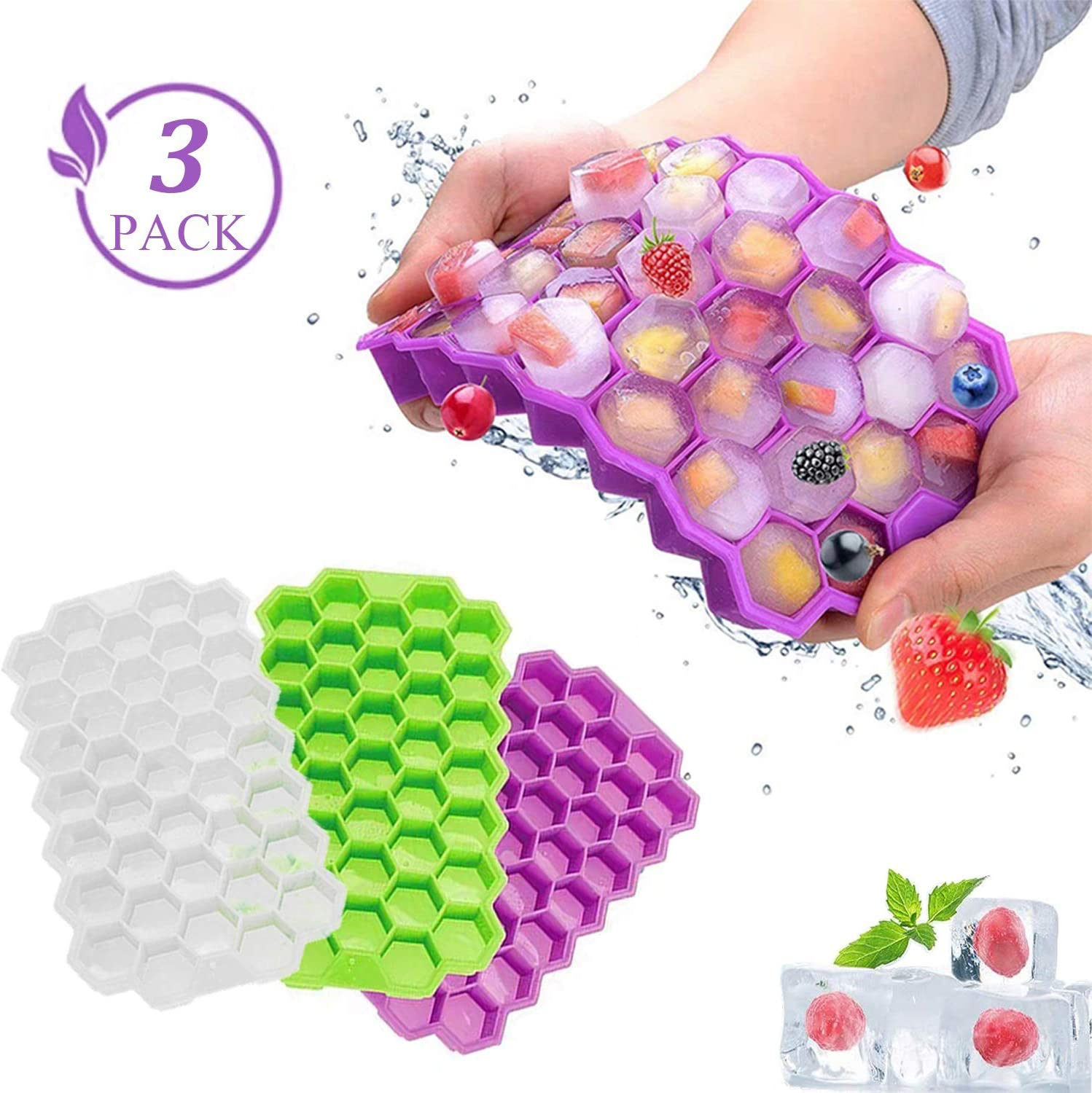 3 Pack Food Grade Silicone Flexible Ice Cube Molds with Lids,BPA Free,Durable Cube Trays,111 Cubes Reusable Ice Maker,Easy Release Ice Cube Mold,For Whiskey Wine Cocktail Beverages Juice Chilled Drink