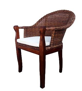 Sam Rattan Esszimmer Stuhl Cobra In Farbe Braun Mit Armlehnen