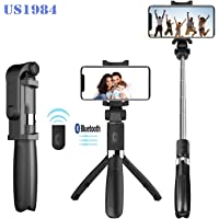 US1984 Selfie Stick Tripod, Mini Foldable Extendable 360° Rotation Bluetooth Selfie Stick with Remote Control and Tripod Stand Compatible with iPhone x 8 7 Android Samsung Galaxy S7 S8 (Multicolor)