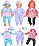 "Total 7pc/Set Doll Clothes Playtime Outfits Sets for 11""-12""-13"" Dolls Like 11-inch Baby Dolls /12-inch Alive Baby Dolls New Born Baby Dolls"