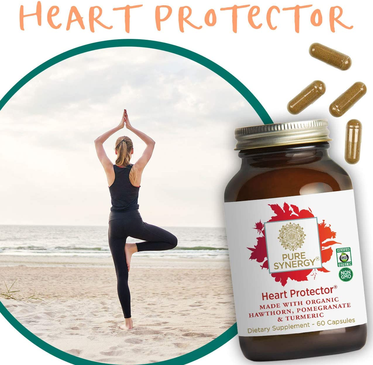 Pure Synergy Organic Heart Protector (60 Capsules) Complete Heart Supplement w/ Hawthorn, Curcumin, Nattokinase: Health & Personal Care