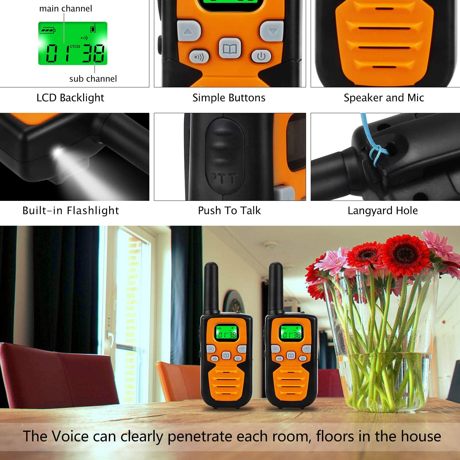 Wishouse Two Way Radios for Adults Travel PMR446 Walkie Talkies with Vox Mic Clip LCD Screen Long Mile Range 0.5w 8 Channels Noise Cancelling Wakie-Talkie for Home Outdoor Games