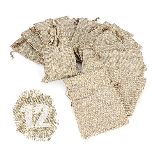 Ruby - 12 Bolsitas Saco de Yute 9,5 cm x 13,5 cm, Bolsas de Regalo, bolsitas de Tela Bolsas Yute para Joyas, Bolsas de arpillera con cordón, Saco ...