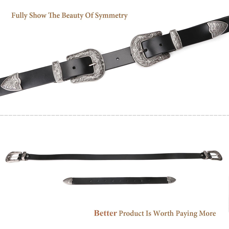Women Leather Belts Ladies Vintage Western Design Black Waist Belt for Pants Jeans Dresses by JASGOOD (Image #5)