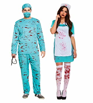 5f1bb2d7aa48f ADULT BLOODY SURGEON & NURSE Mens Ladies Couples Halloween Fancy Dress  Costume Outfits by Lizzy®: Amazon.co.uk: Toys & Games