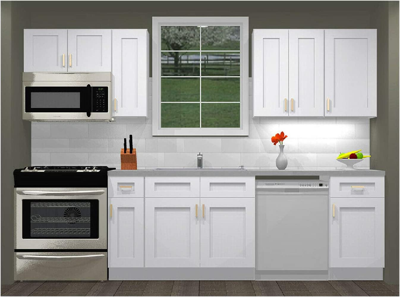 Amazon Com Lily Ann Cabinets 10 Foot Run Wood Kitchen Cabinets Ready To Assemble Rta White Shaker Elite Kitchen Dining