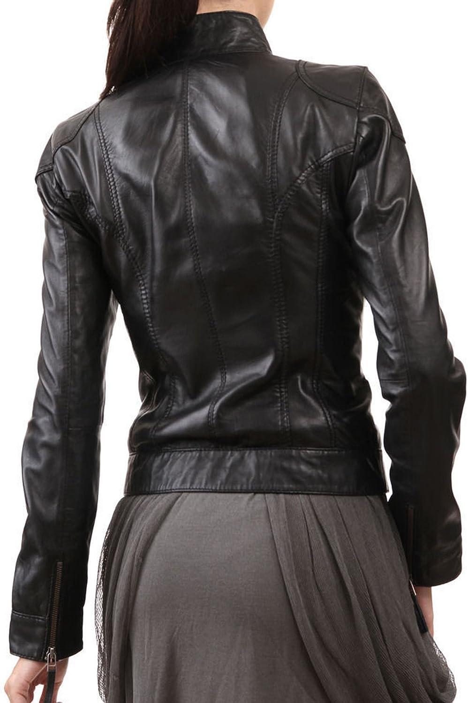 Women Leather Jacket Coat Genuine Lambskin Pure Leather Bomber Biker Jacket LFWN439