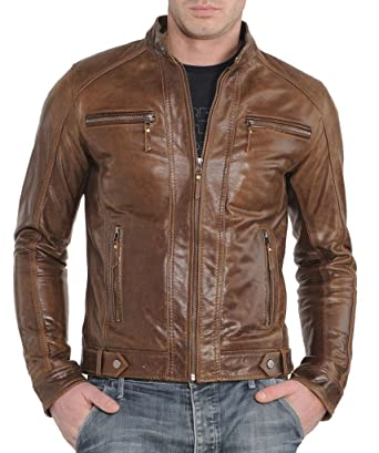 Western Leather Men's Motorcycle Leather Jacket Brown at Amazon ...