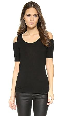 601e22a0091 Amazon.com: Splendid Women's Drapey Lux Cold Shoulder Top, Black ...
