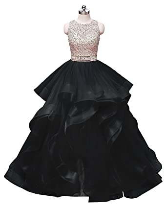 5562c427afe5 HEIMO Women's Open Back Beaded Evening Party Ball Gowns Ruffled Sequined  Formal Prom Dresses Long H296