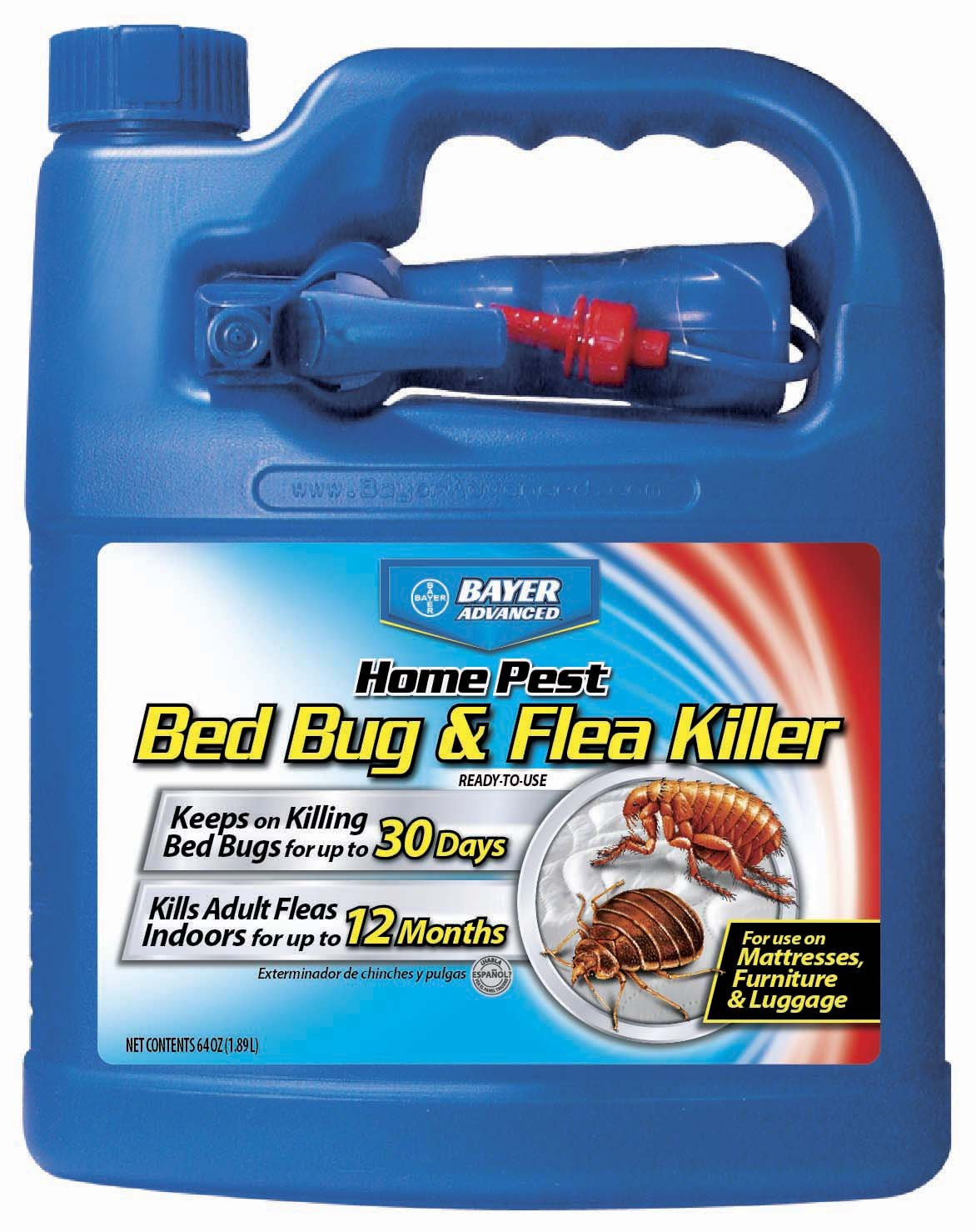 Bayer Advanced Home Pest Bed Bug Flea Killer For Indoor Use On Mattress Luggage Furniture Guard 64 Oz Ready To Spray Bed Bugs Buster