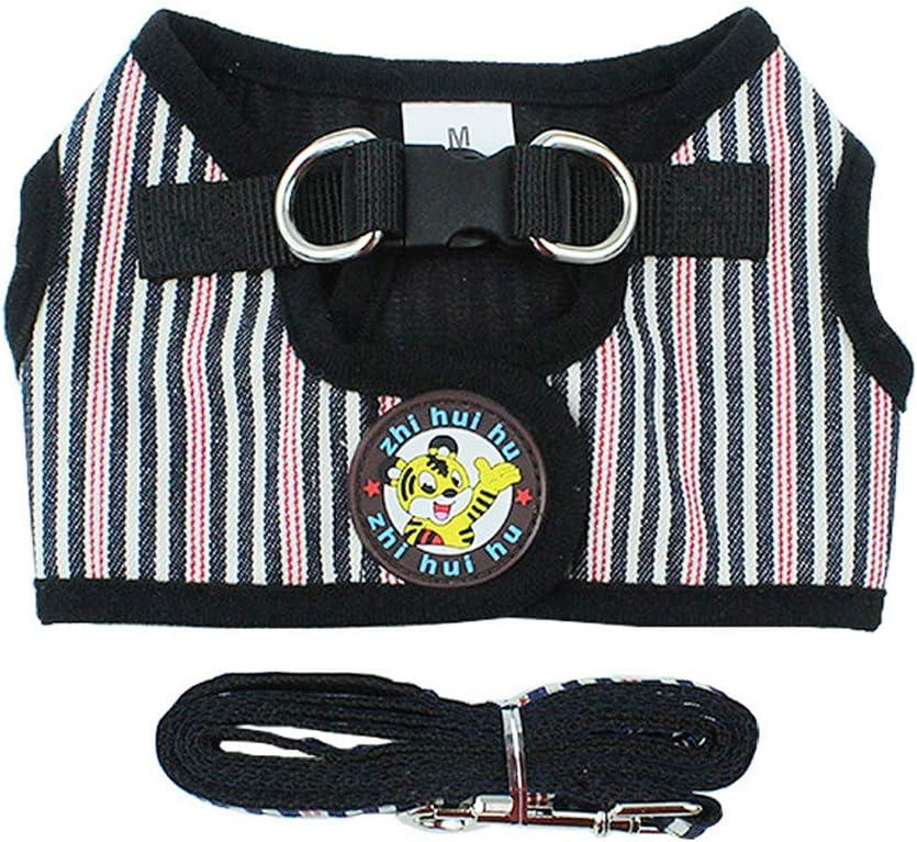 S, Striped Black IEUUMLER Regolabile Pettorina Gilet con Guinzaglio Traspirante Confortevole per Gatto Cane Gilet IE084