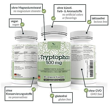 Cápsulas de L-Triptófano 500mg de VITA1 • 90 cápsulas (6 semanas de suministro) • tratamiento dietético para los trastornos del sueño • Hecho en Alemania: ...