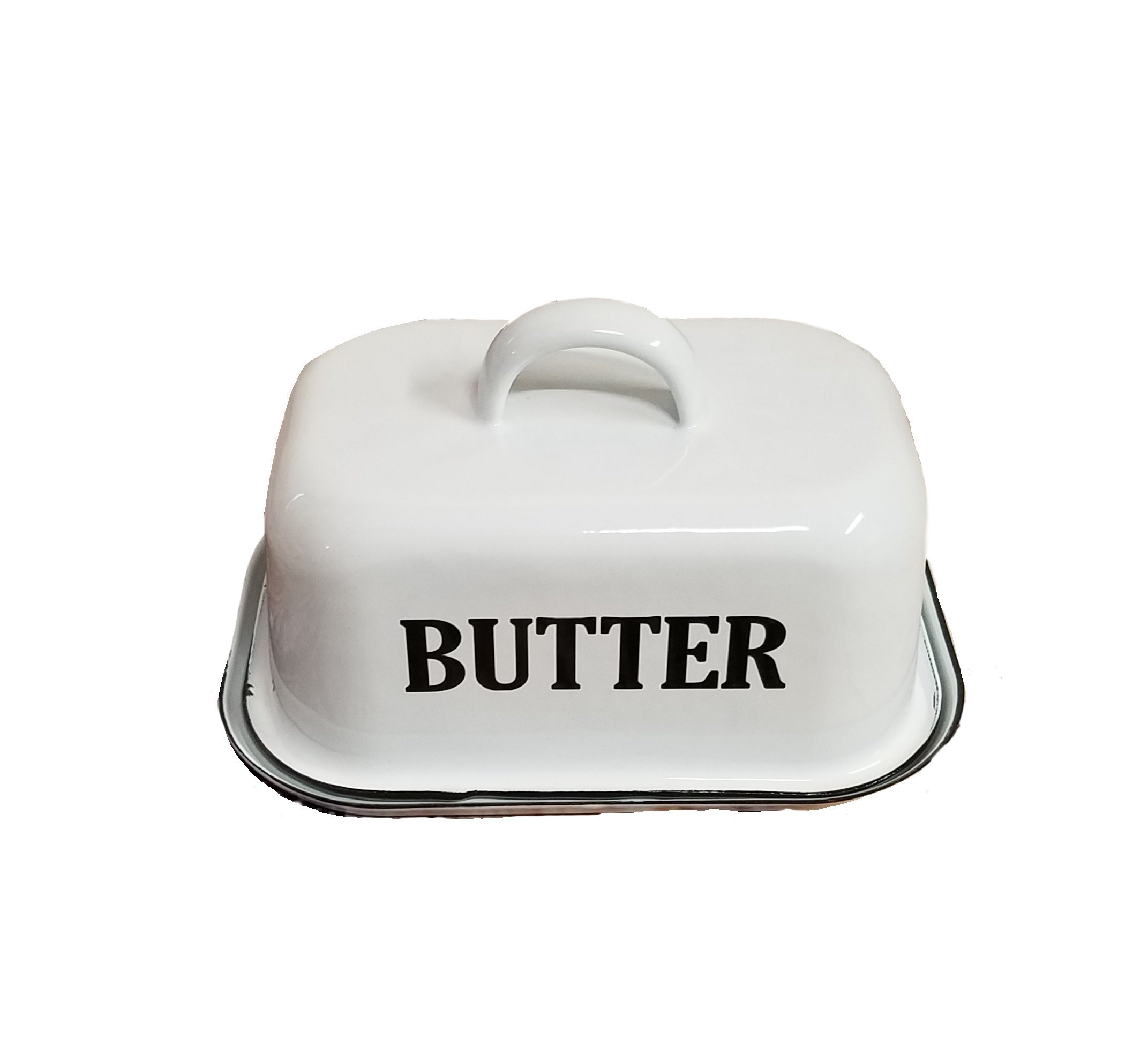 Vintage White Enamel Butter Dish with Lid