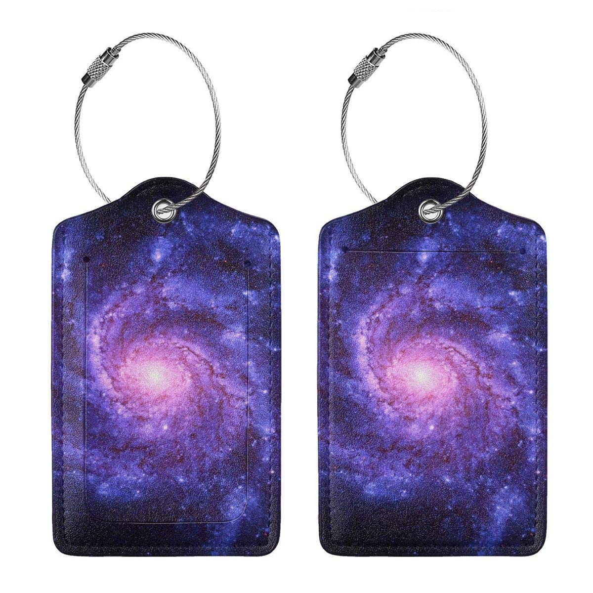 Space Galaxy Leather Luggage Tags Baggage Bag Instrument Tag Travel Labels Accessories with Privacy Cover
