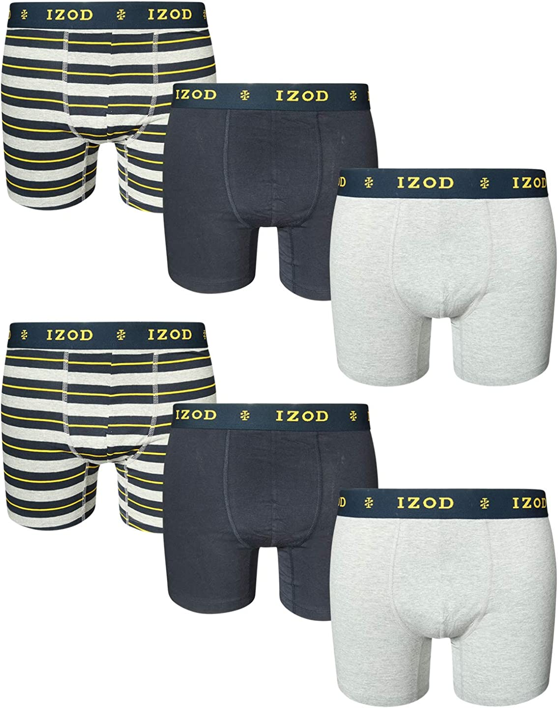IZOD Men's Cotton Stretch Boxer Briefs with Comfort Pouch (6 Pack)
