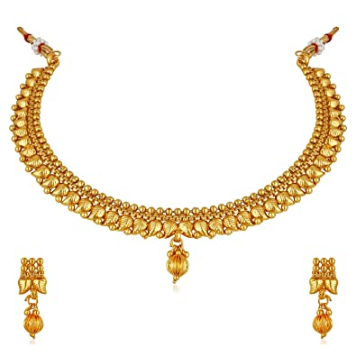ee6d6d2dc Buy Amaal One Gram Pearl Gold Traditional Necklace Jewellery Sets with  Earrings for Women/Girls -JSA048 Online at Low Prices in India | Amazon  Jewellery ...