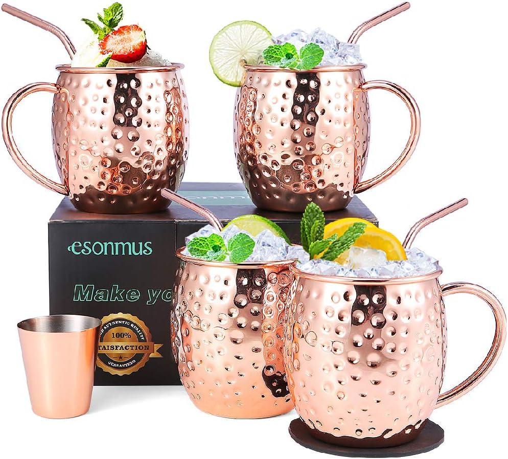 Moscow Mule Copper Mugs, esonmus Juego de 4 Tazas de Cobre Hecho a Mano, Mule Moscow con 1 Jigger 4 Pajitas 4 Posavasos para Cóctel, Vodka y Cerveza