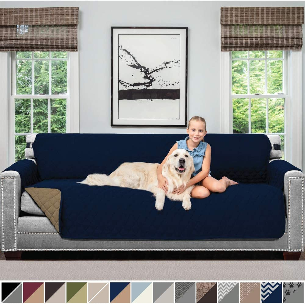 Sofa Shield Original Patent Pending Reversible Oversize Sofa Slipcover, 2 Inch Strap Hook, Seat Width Up to 78 Inch Washable Furniture Protector, Couch Slip Cover for Pets, Oversize Sofa, Navy Sand