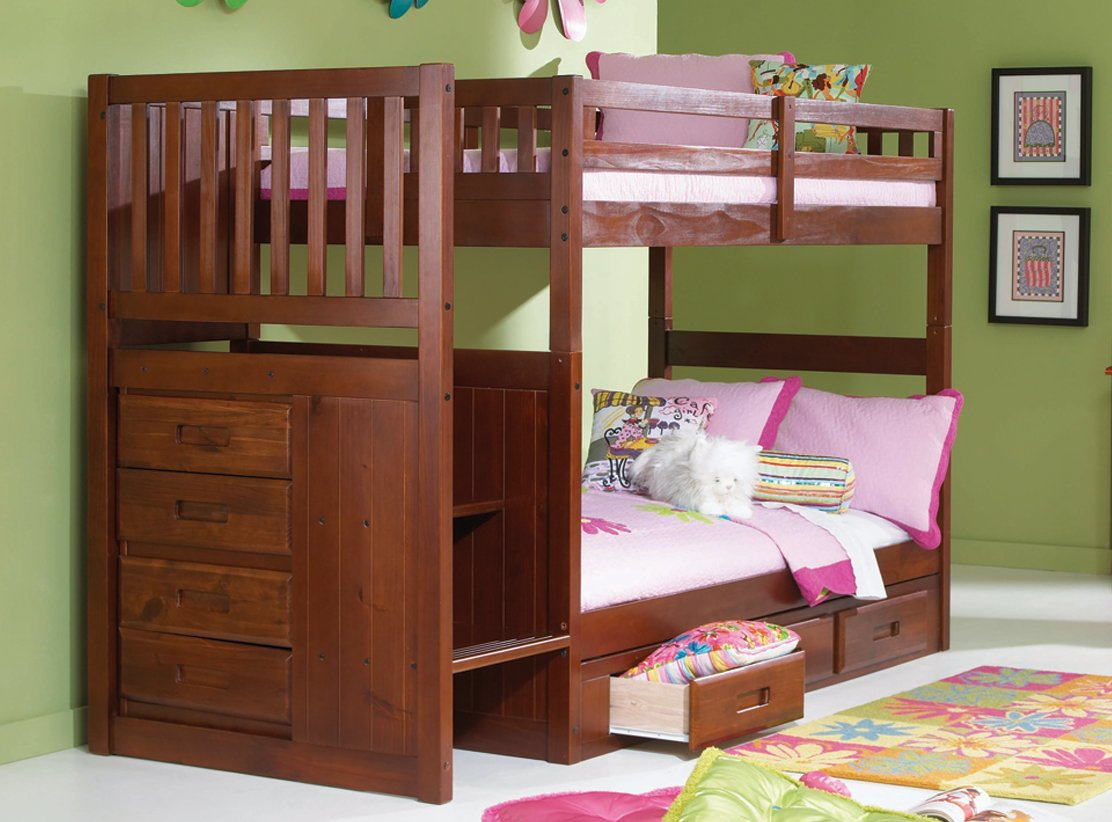 Mission Twin Over Twin Staircase Bunk Bed with Trundle, Desk, Hutch, Chair and 5 Drawer Chest in Merlot Finish