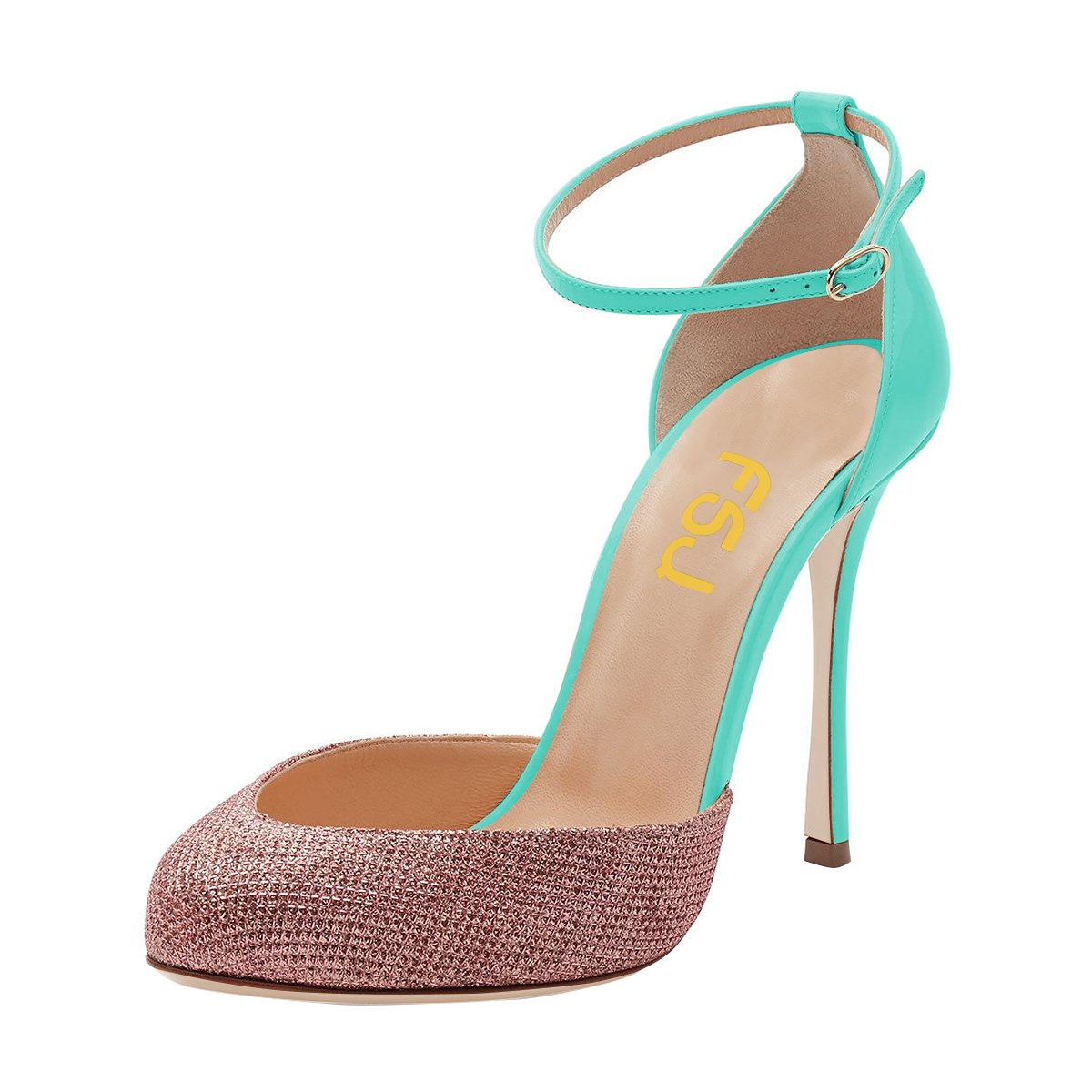 FSJ Women Fashion Almond Toe Ankle Strap D'Orsay Pumps High Heels Party Prom Sandals Size 4-15 US B07863JCLT 8.5 B(M) US|Turquoise