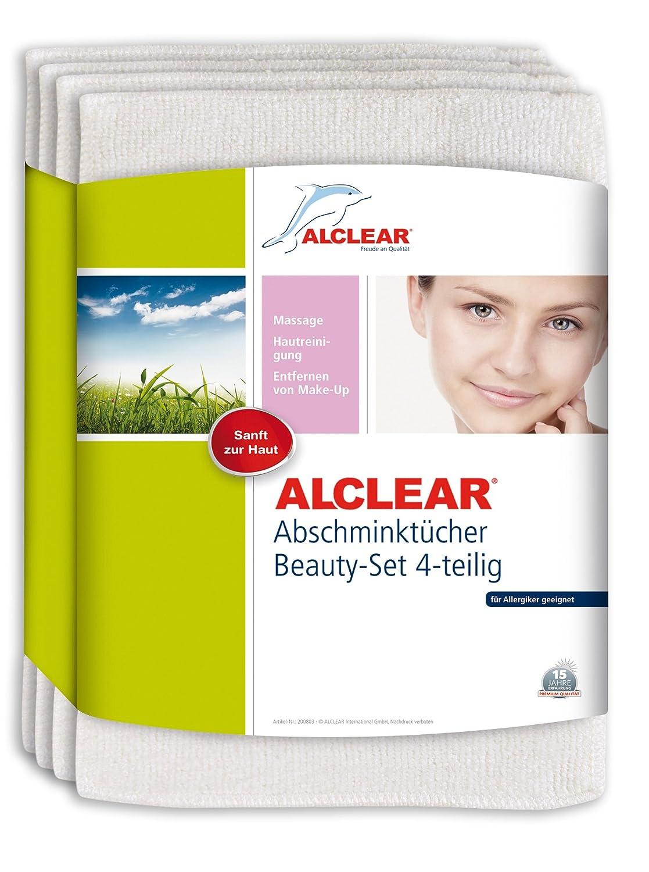 ALCLEAR Set di 4panni struccanti in microfibra, delicati sulla pelle in caso di irritazioni e allergie, dermatologicamente testati 200803