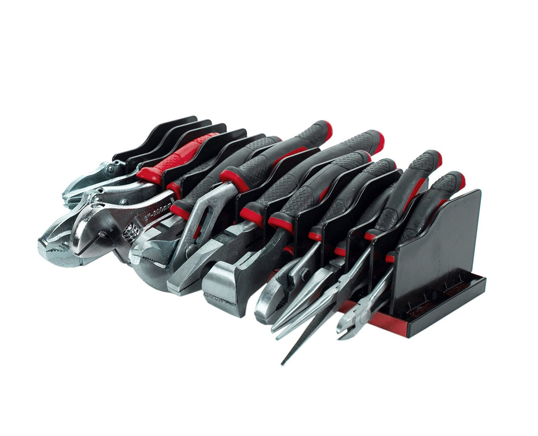 Olsa Tools | 12 Pc Pliers Cutters Organizer | Red Anodized Aluminum Plier Holder Rack with Adjustable Black Separators | Premium Quality Plier Organizer