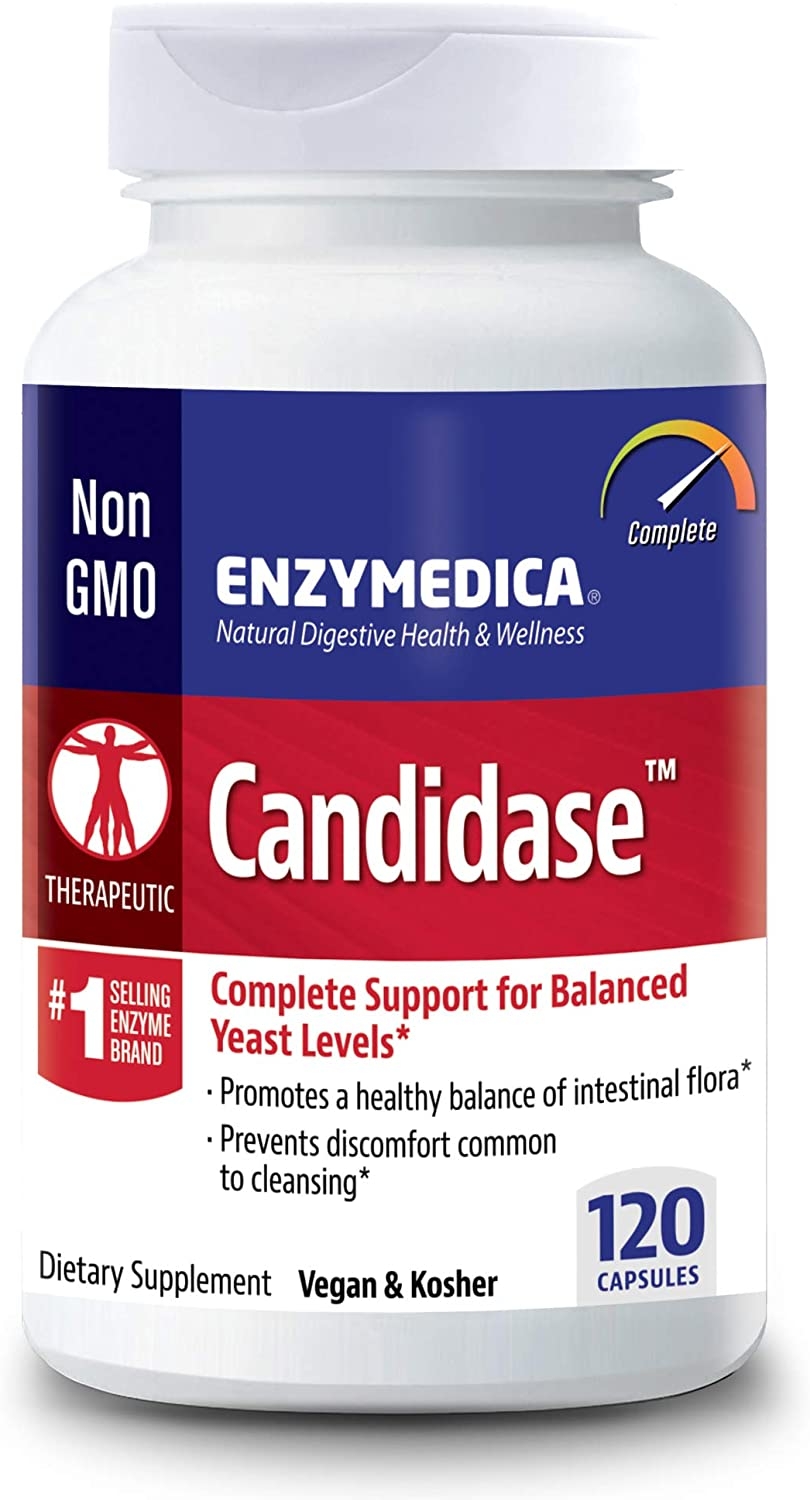 Enzymedica, Candidase, 120 Capsules, Enzyme Supplement to Support Balanced Yeast Levels and Digestive Health, Vegan, 60 Servings