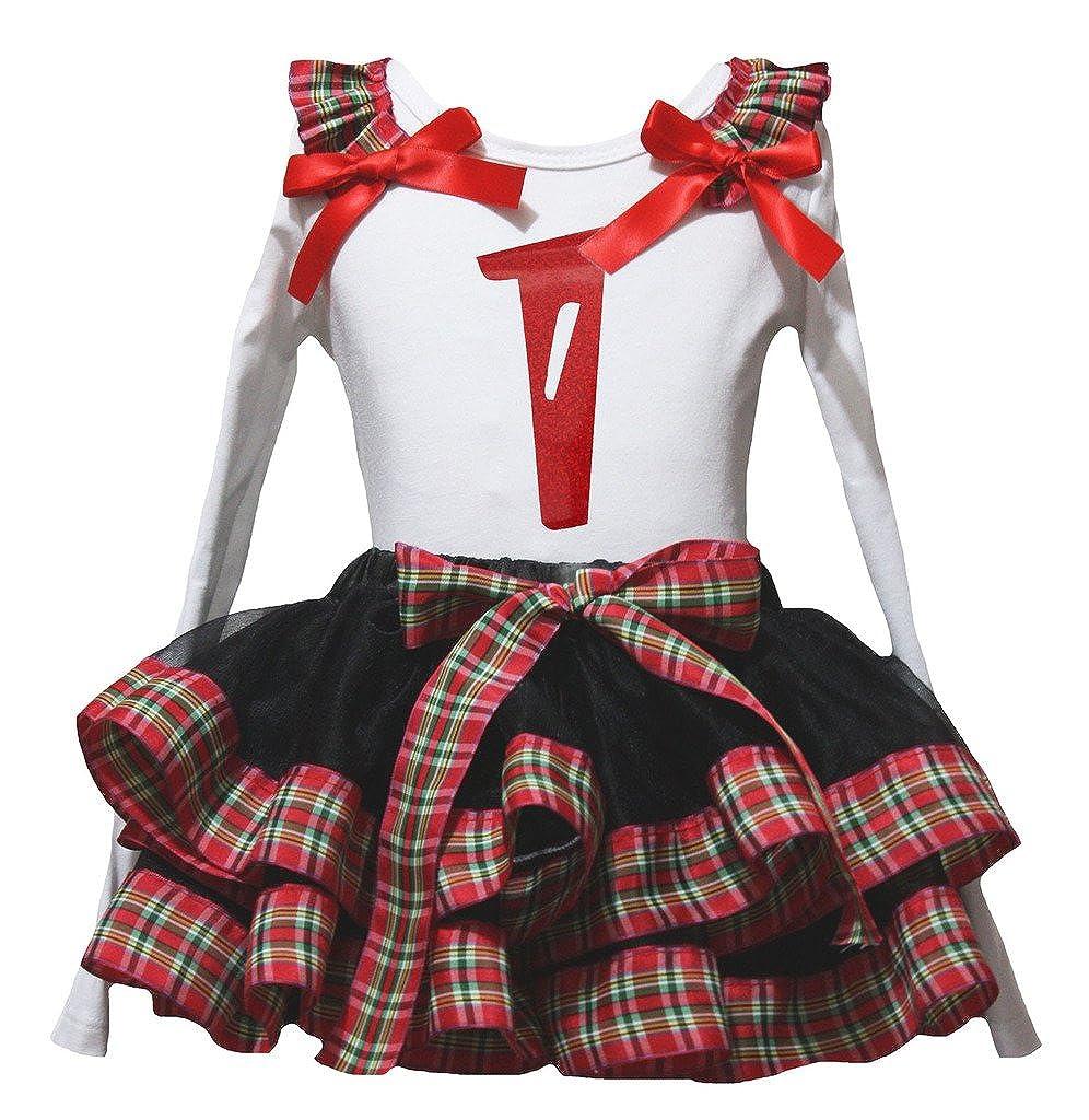 Petitebella Red One 1 White L//s Shirt Checkered Ribbon Black Petal Skirt Nb-8y