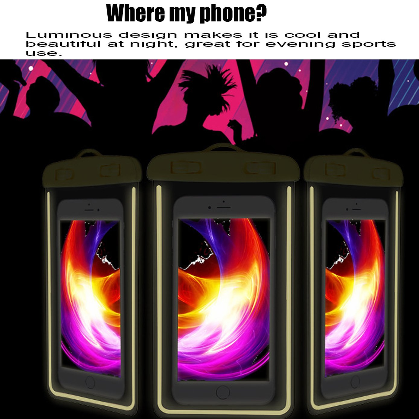 [2Pack Blue+2Pack pink] Universal Waterproof Phone Case Dry Bag CaseHQ for iPhone 7,7 plus,8,8 plus,6/6s/6plus/6splus Samsung Galaxy s5/s6,s7,s8 plus etc. Waterproof for Cell Phone up to 5.8 inches by CaseHQ (Image #6)