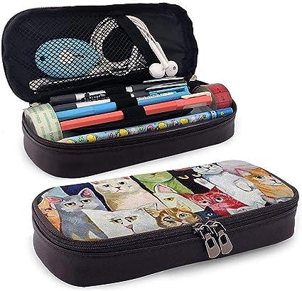 Pinturas, Gatos, Colores Estuche de cuero Estuche para lápices Estuche para lápices Útiles escolares para estudiantes: Amazon.es: Oficina y papelería