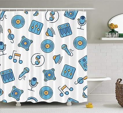 Amazon com: ONELZ Music Theme Wallpaper Decorative Shower Curtain