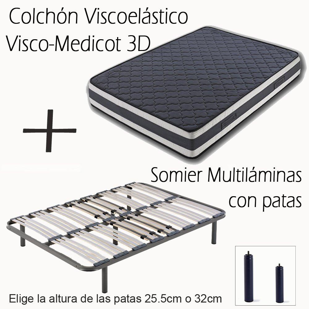 HOGAR24 ES SOMIER MULTILÁMINAS con REGULACIÓN Lumbar Y 4 Patas DE 32CM + COLCHÓN VISCOELÁSTICO Doble Cara VISCO-MEDICOT 3D-90x190cm: Amazon.es: Juguetes y ...