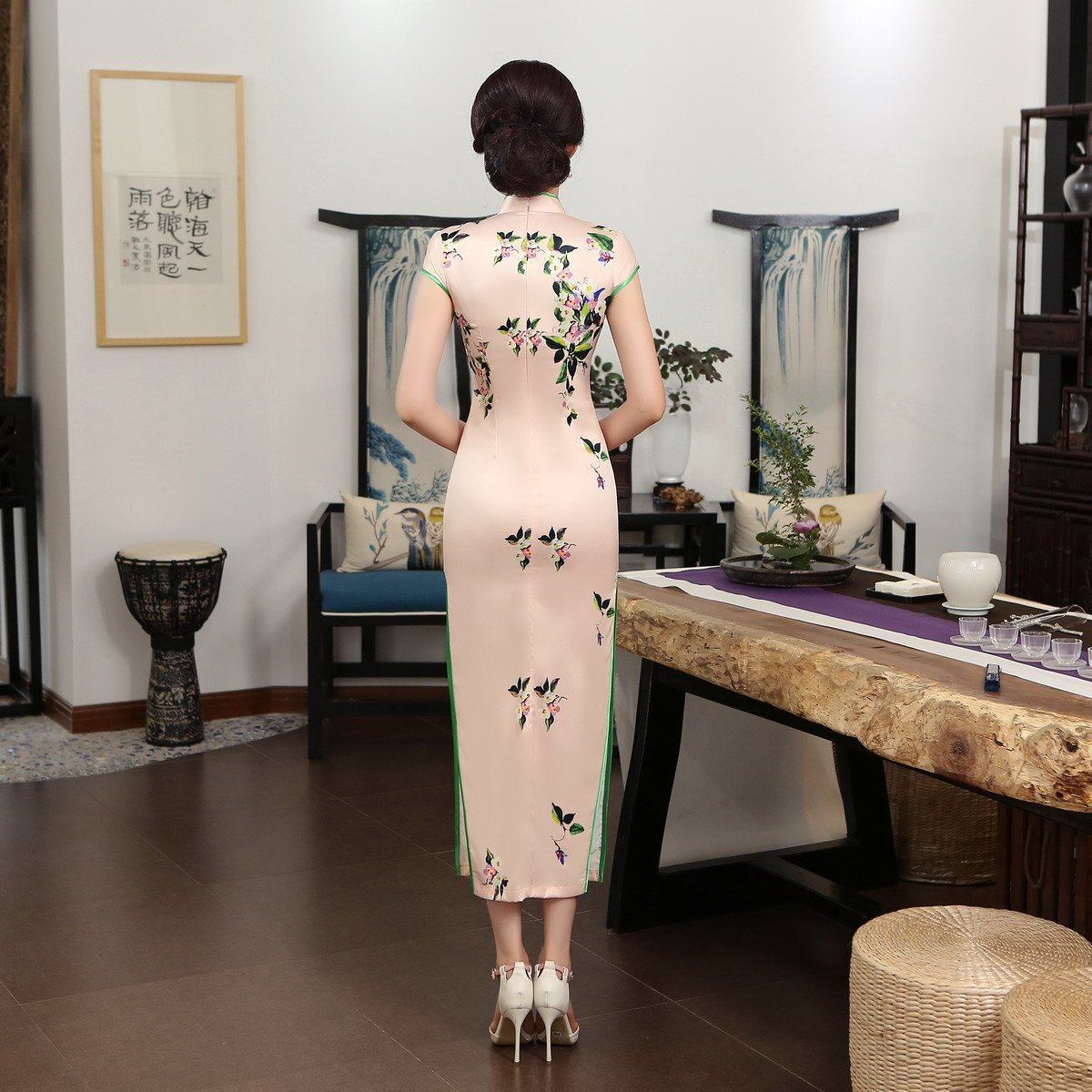ACVIP Women Cap Sleeve Vintage Chinese Floral Maxi Qipao Side Split Cheongsam (China M/Bust:33.5'') by ACVIP (Image #2)