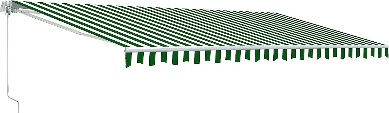 Aleko AWM20X10GRWHSTR Retractable Motorized Patio Awning, 20' x 10', Green/White Stripe