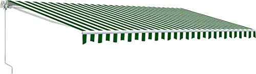 Aleko AWM20X10GRWHSTR Retractable Motorized Patio Awning, 20 x 10 , Green White Stripe
