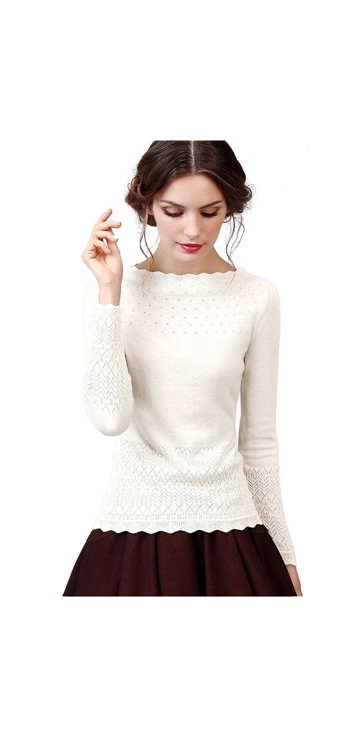 Women's Vintage Slim Knit Wool Blend Sweaters Pullover